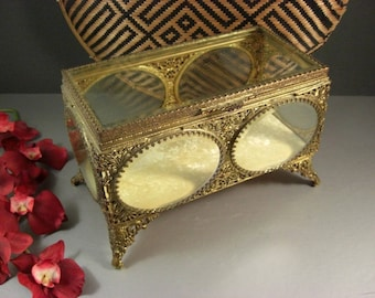 Grand Size Beveled Glass Ormolu Jewelry Casket Vanity Dresser Trinket Wedding Box