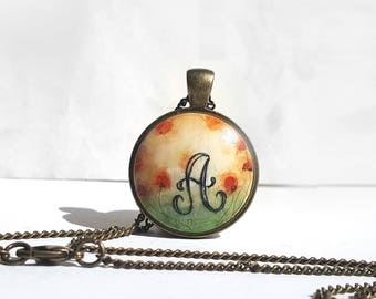 Letter A Necklace, Monogram A Necklace, Poppies Painting Personalized Necklace, Hand Painted Charm, Initial Necklace, Handcrafted by Artdora