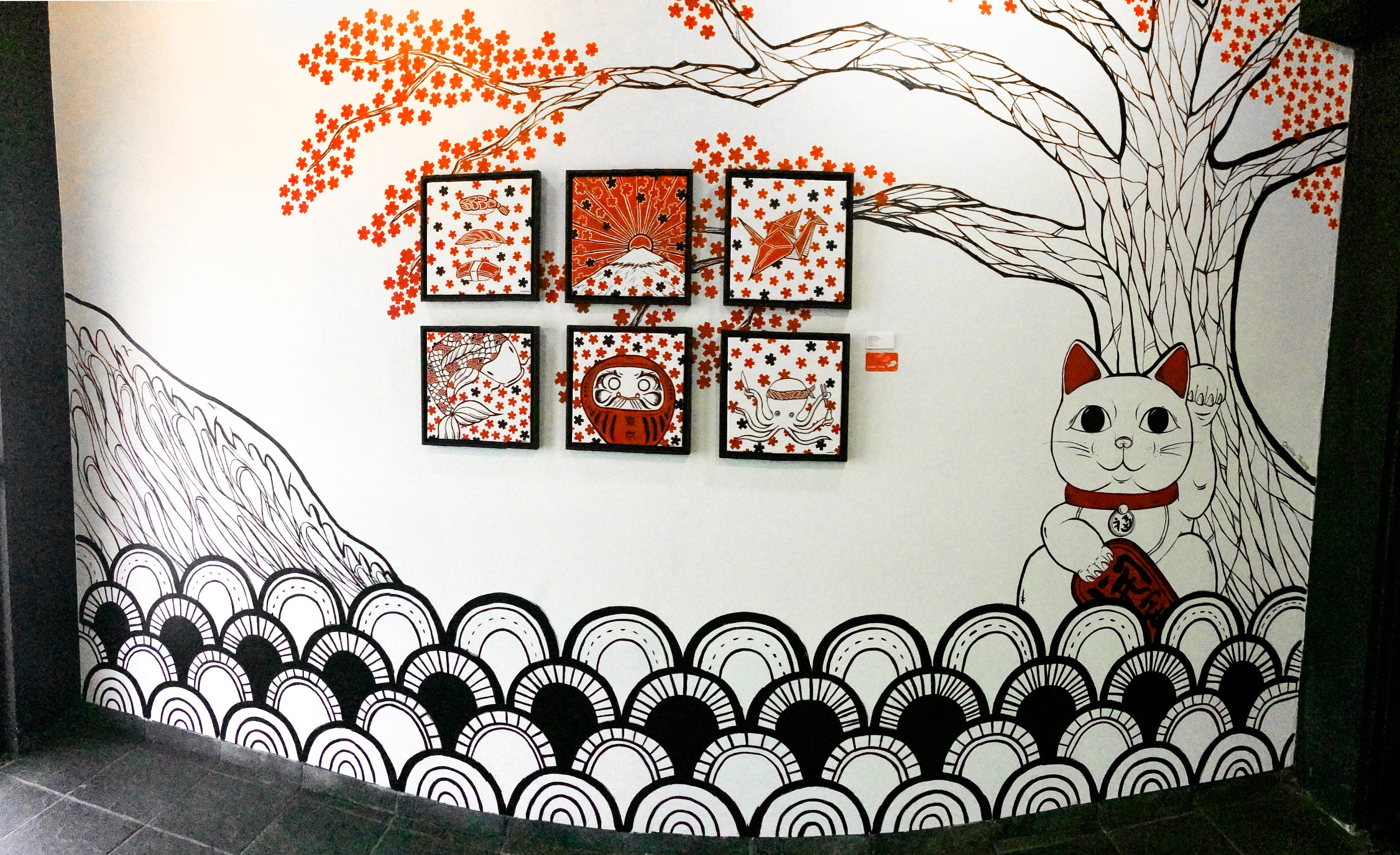 Japanese Mural Paintings - Tokyo Restaurant by Caroline Truong