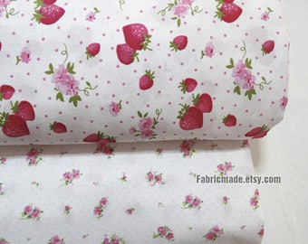 Strawberry Cotton Fabric, Red Pink Strawberry Little Flower Bows Polka Dots Cotton- 1/2 Yard
