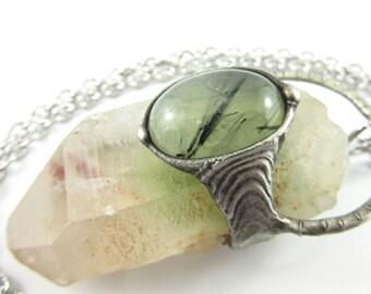 the seedling - prase quartz phantom crystal & prehnite pendant