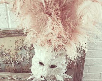 1920 masquerade feather mask ashwell ostrich plume pink cat sequin theater shabby french nordic chic costume ballet ballerina showgirl