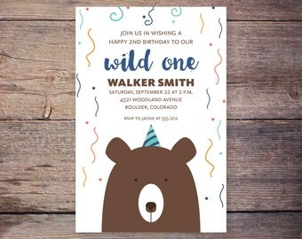bear birthday invitation, bear invitation, bear birthday, wild one invitation, camping birthday invite, camping party birthday invitation