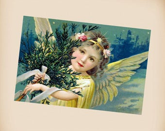 Christmas Angel New 4x6 Vintage Postcard Image Photo Print CH54