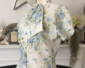 50s Bachelor Button Bow Neck Blouse