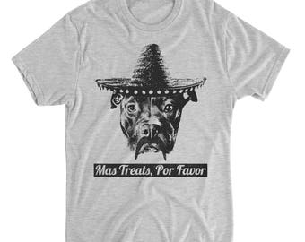 Mas Treats Por Favor - Funny Pitbull Shirt - Pitbull Shirt - Dog Shirts - Pitbull Lover - Pitbull Print - Pitbull Gifts - Mens Shirts