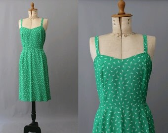 1980s green straps dress  small / vintage green straps dress