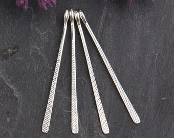 Shiny Silver, Textured Flat Long Drop Charms, Gold Charms, Long Charms, 6 pieces // SCh-153