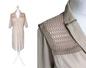 Vintage 80's Dress | Werner Graumann Jeune Femme Pret A Porter | 1980's Dress | Utility Fashion | Net Shoulders
