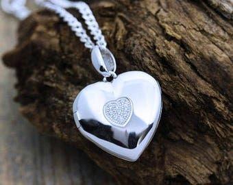 Sterling silver heart Photo locket Necklace . Solid Sterling Silver Heart Shape Locket, Heirloom Locket . Locket jewelry . By Mony-Art- 46