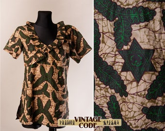 African Wax Print Cotton Top tunic / Ethnic Tribal Festival clothing / Ruffle neck African top tunic / Star of David / size  Large