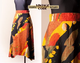 Vivid colorful Autum colors High Low Skirt  / High waist mid length skirt  / size small