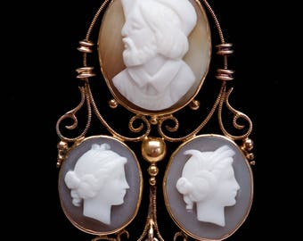 Victorian Cameo Triple Portrait 9K Gold Unusual Cameo Antique Cameo