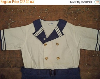 "ON SALE vintage 30's ""new idea"" brand children's sailor top and shorts outfit uniform, age 6"
