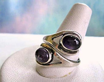 Amethyst Cabochon Two-Stone Bypass Ring, Mexico Sterling Bezel Set Ovals, Mid Century Modern, 4 grams, Size 8.5, Signed Hallmarked