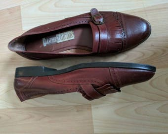 Vintage Burgundy leather women's loafers size 8