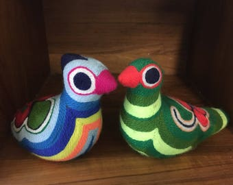 Vintage pair of fun terra-cotta Mexican yarn birds