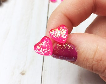 Hot pink and holo confetti glitter Hypo-allergenic heart shaped glass dome resin post stud earrings by Jules Jewelry Box