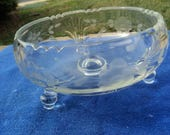 Small clear glass footed compote with delicate frosting of flowers and vines