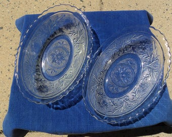 Serving dishes in clear depression glass/ scalloped edges