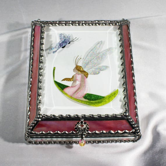 Etched Hand Painted Fairy, Stained Glass, Treasure Box, Trinket Box, Fantasy