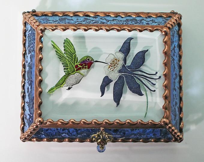 Etched Hand Painted Ruby Throated Hummingbird and Columbine Treasure Box -Treasure Box