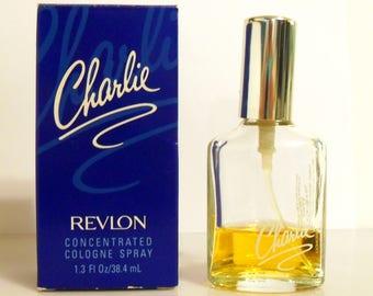 Vintage 1980s Charlie by Revlon 1.3 oz Cologne Spray and Box PERFUME