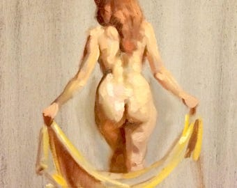 original oil painting on panel 12x12 inch figure sketch