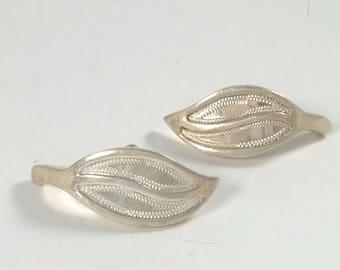 Vintage Leaf Earrings Sterling Silver 925 Pierced Jewelry - Leaves