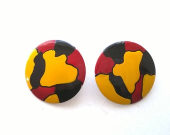 Vintage Bright Bold Earrings - Pierced Button Yellow, Red Black Fashion Jewelry - 1980s