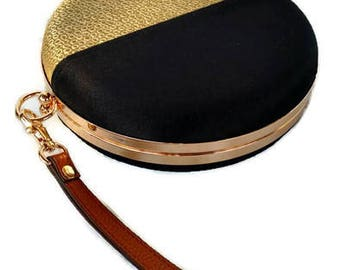 Black & gold minaudiere clutch /Circle minaudiere purse/ Gift for her/Personalized clutch/Round clutch with double handle/Purse trend 2018