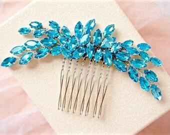 Blue Rhinestone Hair Comb,Blue Bridal Hair Comb,Blue Wedding Hair Comb,Blue Hair Piece,Blue Crystal Hair Comb,Blue Hair Accessory