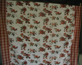 Vintage Tablecloth, Floral Print with Plaid Border, 100% Cotton, Red, Charcoal and White, Large Size 60 x 95 , Picnic Tablecloth
