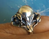 Art Nouveu ,Ball Ring, Jens Petersen ,Denmark, Orb Ring, Sterling Silver, Signed, 1920's Floral, SZ 7,  Perfume Ball