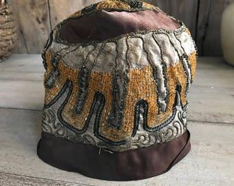 1920s Cloche Hat, Silk, Glass Beads, Art Deco Era, Formal Dress Hat