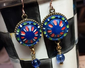 1930's Casein Deco Colorful Button Earrings