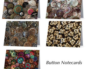 Assorted Button Notecards Charming Set of 12