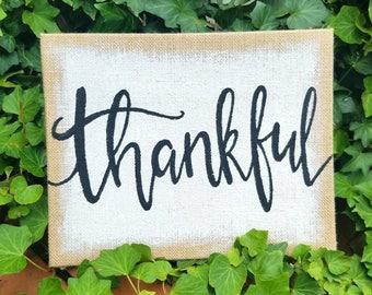 "Thankful - Burlap Sign, 11""x14"""