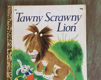Tawny Scrawny Lion A Little Golden Book 59 cents #138 1978 Good condition