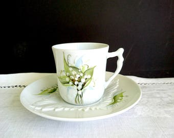 Limoges, France, Lily of the Valley Design, Vintage - Small Cup and Saucer, Hand Painted, Giraud Limoges France, Green, White, Black, Blue