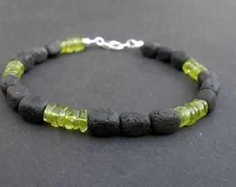 Peridot Men Bracelet, Lava Men Bracelet, 925 Sterling Silver, Peridot Unisex Bracelet, Peridot and Lava, August Birthday Gift for Him