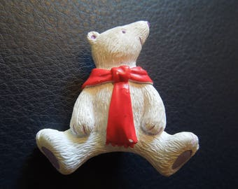 Vintage Christmas Brooch or Pin.  Polar Bear in White with Red Scarf.