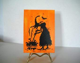 witch and cauldron, witch art, Halloween decoration, OOAK, halloween art, halloween canvas, halloween silhouette, Halloween wall décor