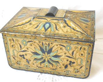 antique tin container vintage tin biscuit tin cookie tin art nouveau tin canister antique tin