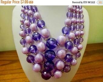 On Sale Vintage Graduated Multi Strand Purple Plastic Beaded Necklace Item K # 132