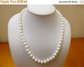 ON SALE MONET White Glass Beaded Necklace Item K # 2143