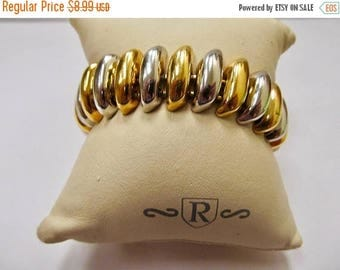 ON SALE Retro Two Tone Chunky Link Bracelet Item K # 1014