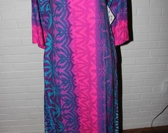Vintage 1970s Hawaiian print COTTON maxi dress