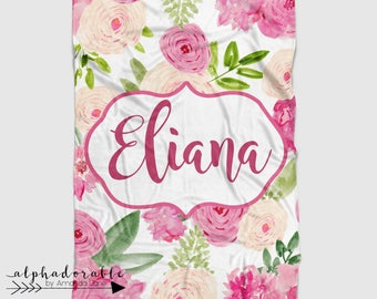 Personalized Minky Baby Blanket in Pink, Green and White Watercolor Floral. It's so Buttery soft!