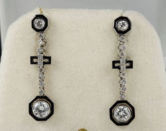 Art Deco .88 Ct Diamond and black exquisite platinum earrings